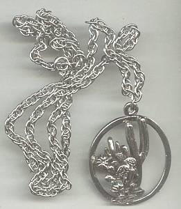 Necklace/Southwest Style ST W/Cactus Motif Pendent