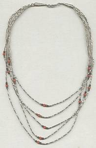 Necklace/Southwest Style 5 Strands Liquid Silver Type