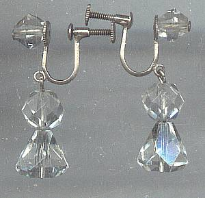 Earrings/Ear Screws Silver W/Clear Faceted Glass(?Crystal)Dangling Beads