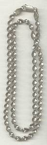 Necklace/925 Italy Woven-Twisted Necklace W/Beadding Along Edge