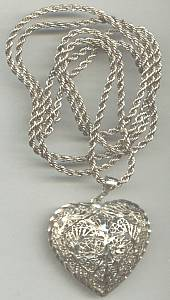 Necklace/Sterling Chain W/Brite Cut Filagree Heart