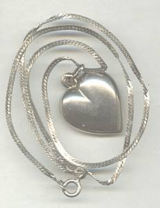 Necklace/Sterling Chain W/Puffy Heart