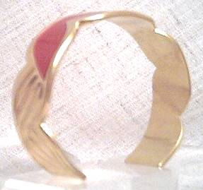 Bracelet/Cuff/Contemporary Goldtone W/Red Enamel Inset