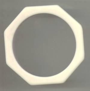 Bracelet/Bangle/Octogon/Creamy White Plastic W/Pale Pink