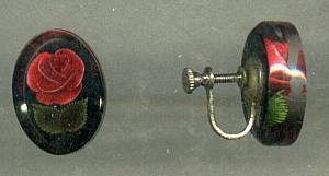 Set(s)/Pendent(no chain)&Ear Screws/Clear Lucite With Imbeded Red Roses&Leaves