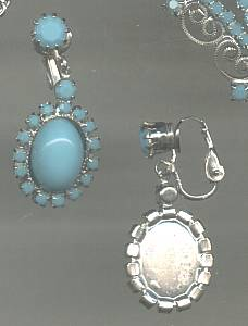 Set(s)/Contemporary Silvertone Necklace&Ear Clips With Glass Faux Cabachons