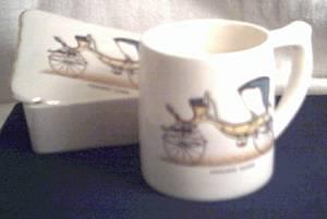 Porcelain/Lidded Box W/Matching Ceramic Mug/Transfer Design of An Old Horse Drawn Fancy Coach