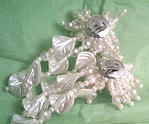 Earrings/Clip Ons/Large-Oversized/Faux Pearl&AB Beads Shoulder Dusters