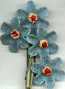 Hair Ornament/Barrette/C.1930's Plastic Floral Bouquet