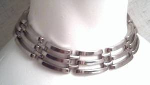 Necklace/Choker/Heavy Metal Link/Silvertone