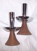 Candle Holders/Turnned Wood and Chrome