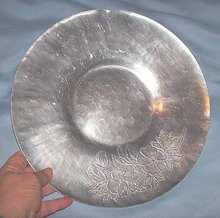 Kitchenware/Round Aluminum Tray/Shallow Bowl/Impressed Floral Design