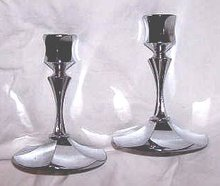 Metalware/Irvinware Fluted Chrome Candle Sticks
