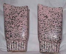 Vase/Pair 1950's Ceramic Pink Vase's With Black Spatters Asymmertical Tops