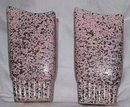 Vase/Pair 1950's Ceramic Pink Vase's With Black Spatters Asymmertical Tops