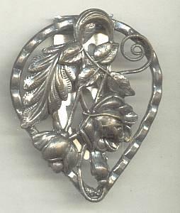 Dress Clip(s)/Stamped Floral Design/Silver Metal