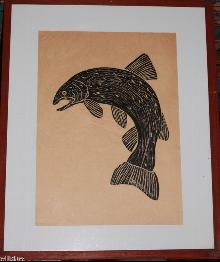 Ed Larson Woodblock Fish Art Proof Print 1983