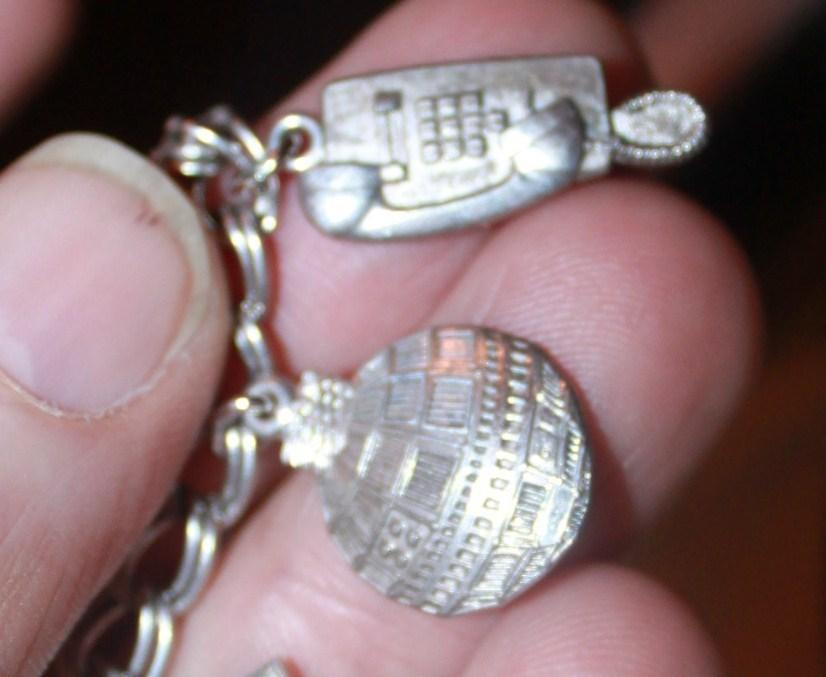 Charm Bracelet Sterling Silver Telephone Charms