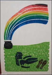 Ed Larson Woodblock Rainbow Art Proof Print 1983