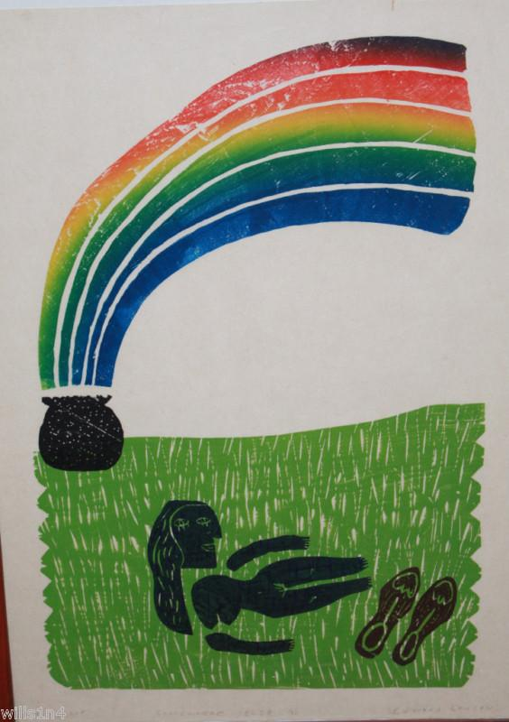 Ed Larson Woodblock Rainbow Art Proof Print 1983