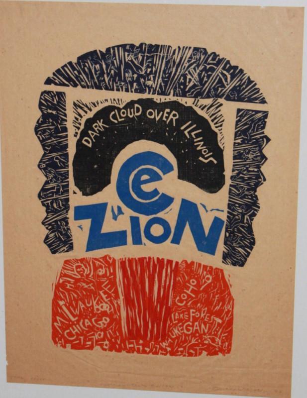 No Nuke Edison Plant Woodblock Art Print 1980s