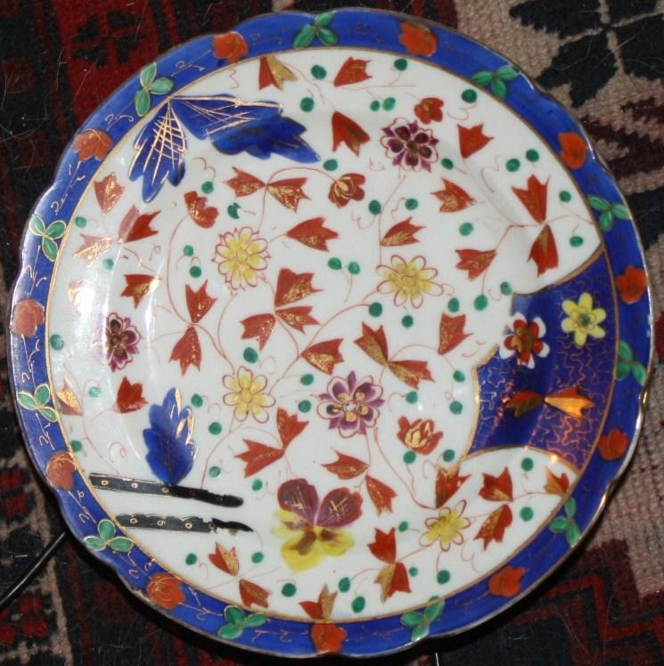 6 sets of Austrian Japan Imari Lunch Plates w Beehive Mark 1880s