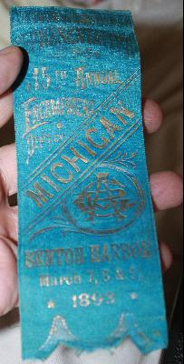 1893 Michigan 15th Benton Harbor Encampment Civil War Union Vetern's Represenitive Ribbon
