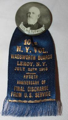 Wadsworth Guards 104th NY 1915 Commemorative Discharge button & Ribbon