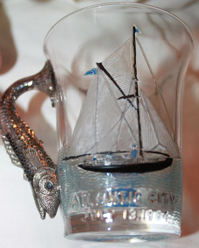 1904 Shriners Masonic fish Handled Atlantic city glass by the Pittsburgh Glass Company
