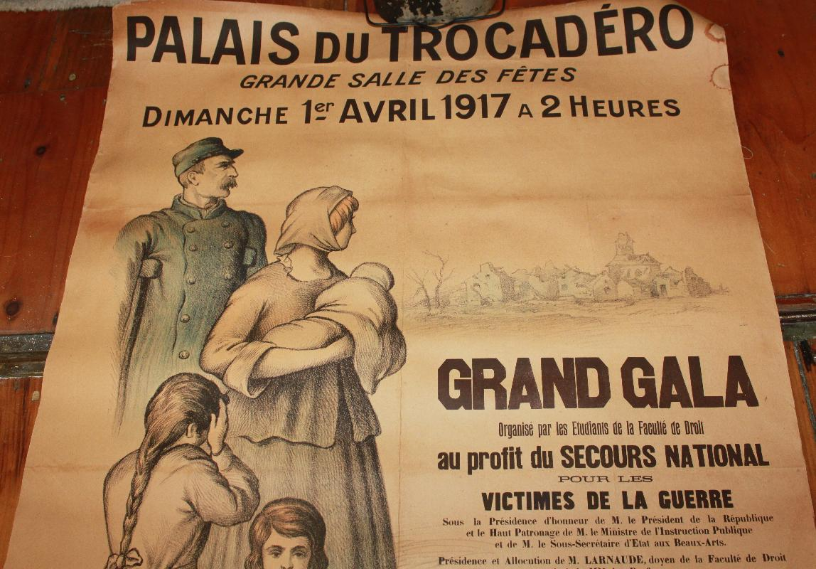 French WWI Benefit Poster Palais Du Trocadero Grande Salle Fetes