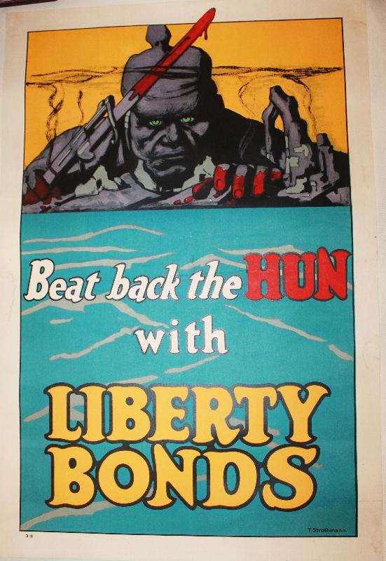 Beat Back the Huns With Liberty Bonds WWI Poster
