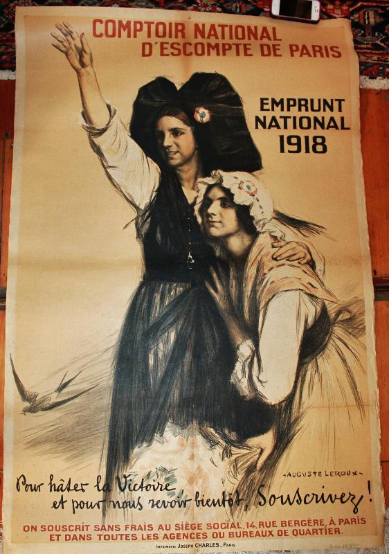 WWI French Poster Comptoir National De Paris 1918