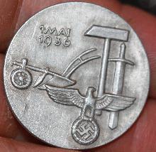 German WWII Mai Day Workers alumminum pin 1936