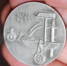 German WWII Mai Day Workers alumminum pin 1936 Hermann Bauer Schwab Gmund