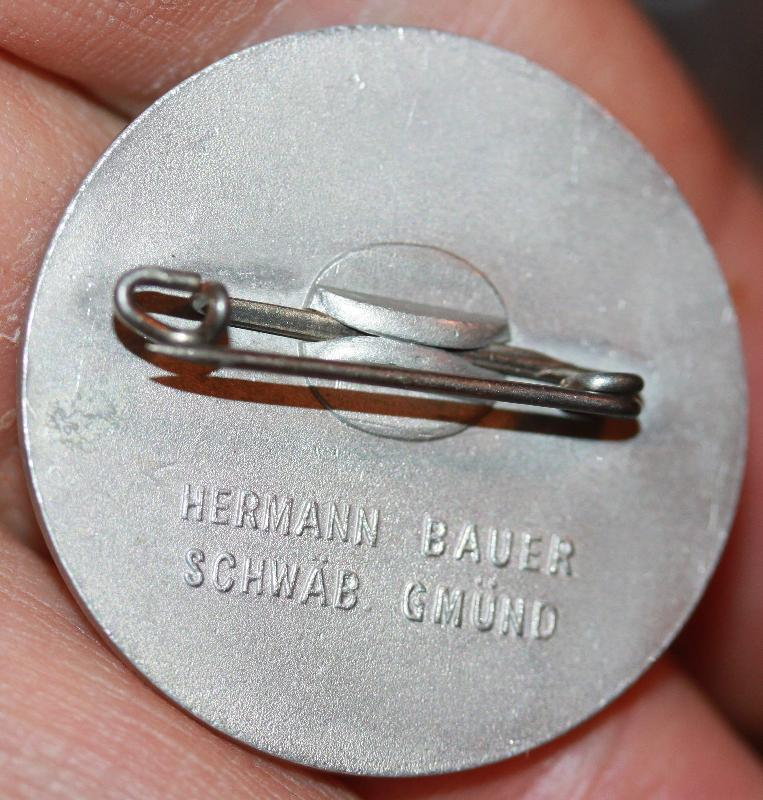 German WWII Mai Day Workers alumminum pin 1936 Hermann Bauer Schwab Gmund