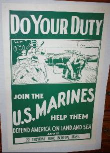 WWI Marines Recruit Poster Boston