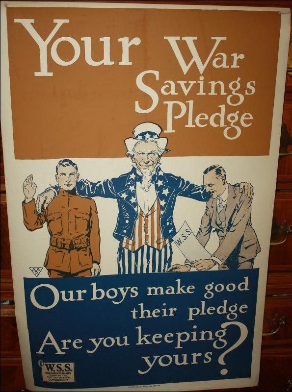 WWI Uncle Sam Savings Pledge Poster