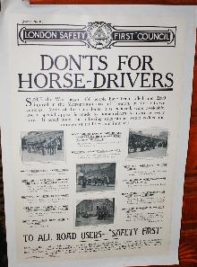 WWI Waterlow & Sons Safety for Horses Poster