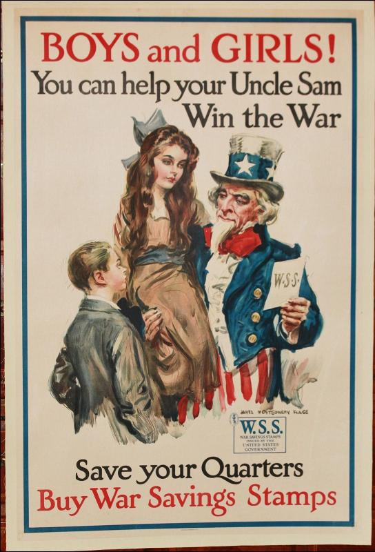 WWII Flagg Uncle Sam Savings Bond Poster