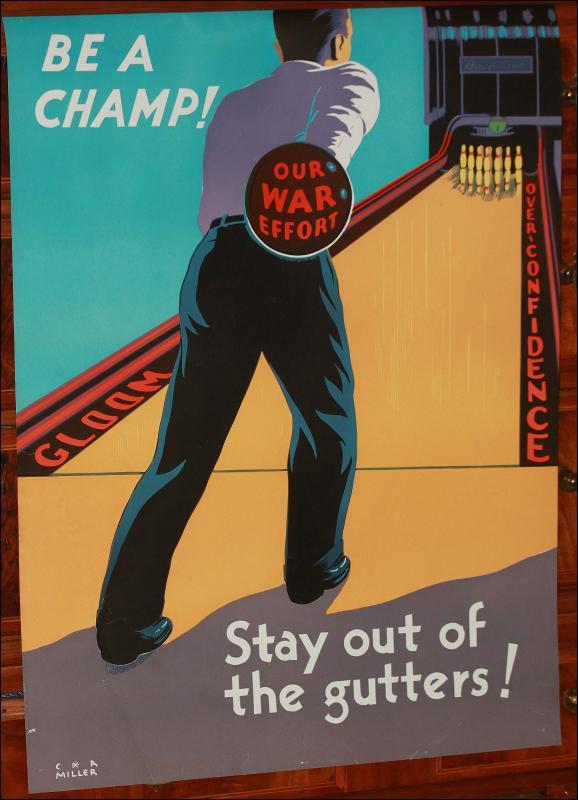 WWII Propaganda USA Bowling Gutters Poster