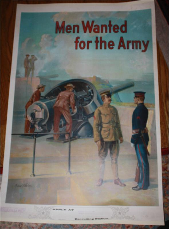 WWI Men Wanted for Recruitment War Poster