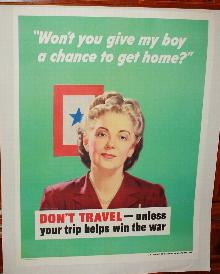 WWII Don't Travel Woman Poster 1940s