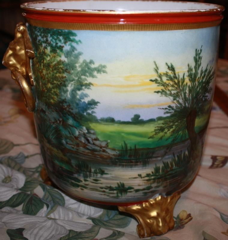 English Hand Painted Footed Wine Cooler