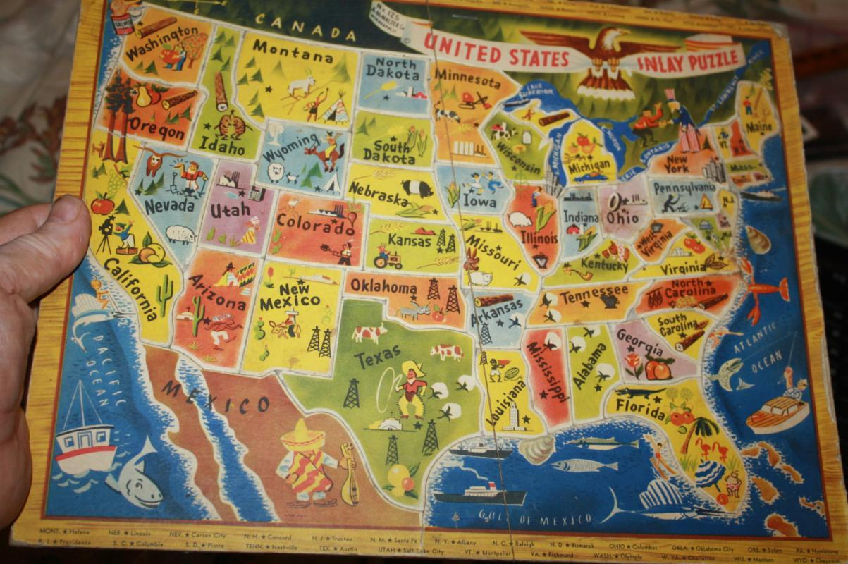 48-State USA Map Puzzle Toy 1950s
