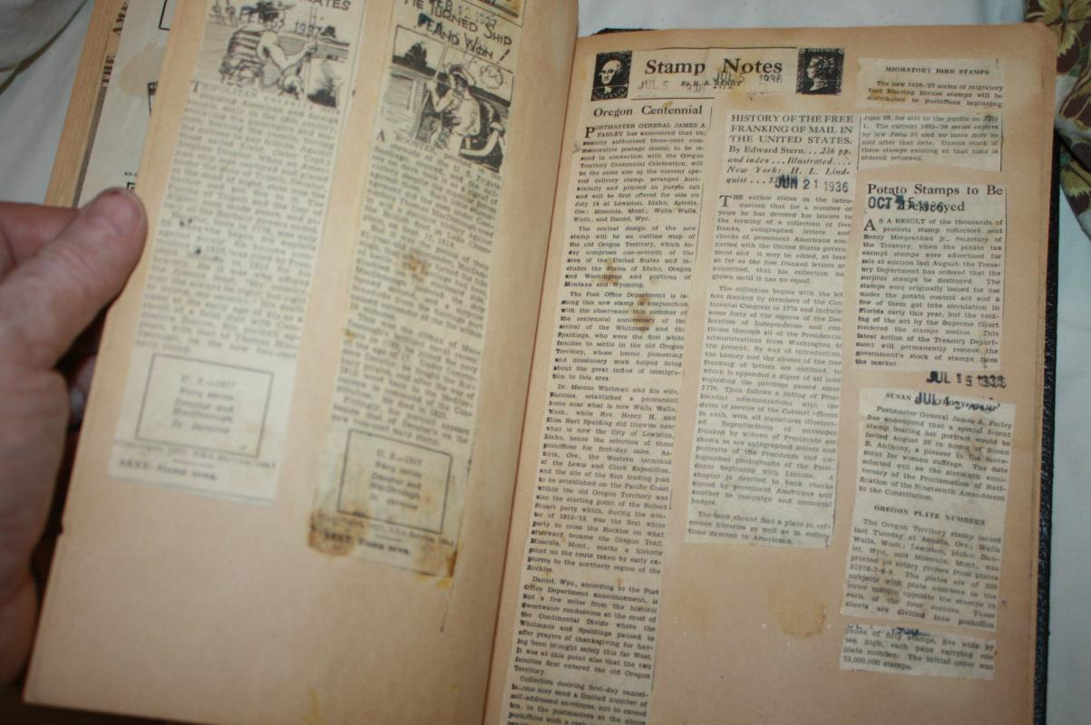 Scrapbook from 1930s with Hand Drawn Stamps Articles