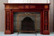 Empire Style Mahogany Wood Fireplace
