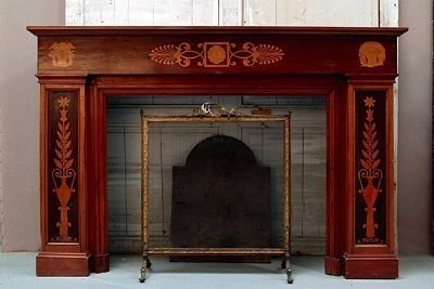 Empire Style Mahogany Wood Fireplace