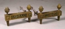 Pair of Empire Style Brass Andirons