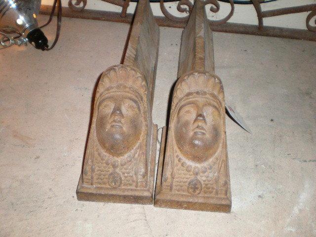 Pair of Femme Visage Andirons