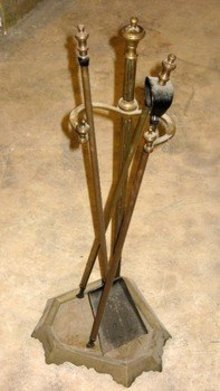 Louis XV Style Brass Fireplace Tools